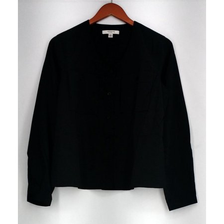 Liz Claiborne Top Sz XS Long Sleeve Button Down Shirt Black