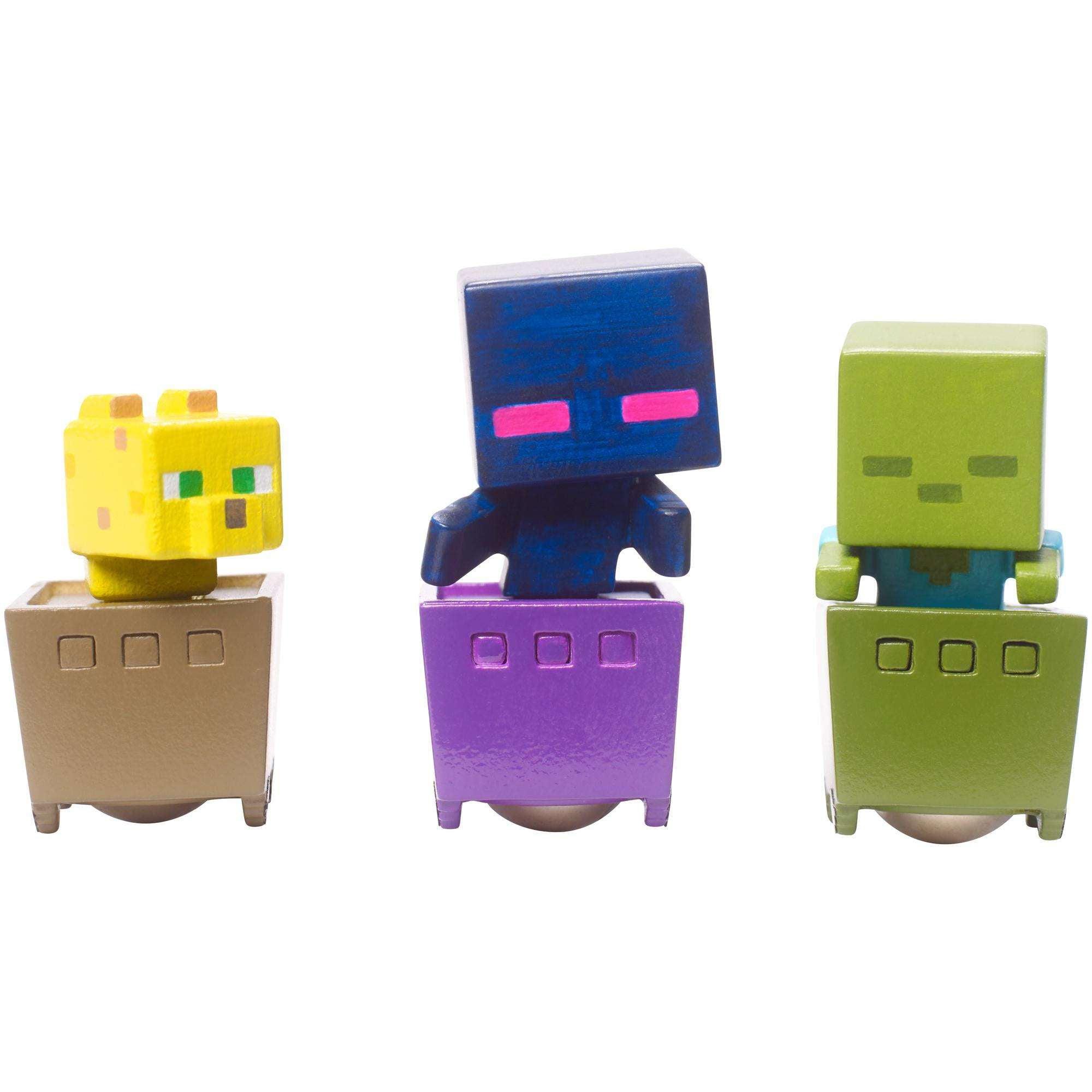 Minecraft Minecart Mini-Figure Ocelot, Zombie, And Enderman 3-Pack by Mattel