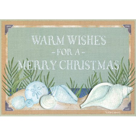 LPG Greetings Shimmering Shells on Beach : Robin Roderick Box of 12 Hand Embellished Warm Weather Christmas Cards ()