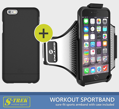"""iPhone 6 Plus 5.5"""" Secure-fit Workout Armband + Sport Case (effortless Click-N-Go mounting system) (By Encased) Black"""