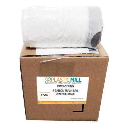 PlasticMill 4 Gallon, White, Drawstring, 0.7 MIL, 17x16, 100 Bags/Case, Garbage Bags / Trash Can - Garbage Bag Costumes