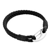 Edforce Braided Genuine Black Leather 2-Strand Cuff Bracelet with Stainless Steel Clasp