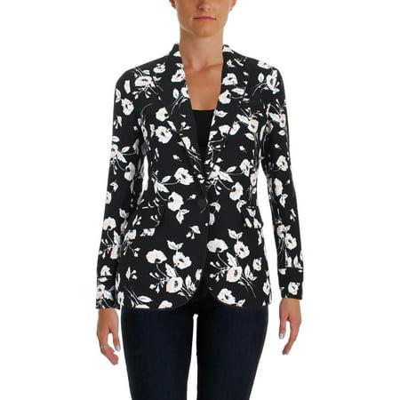 Lauren Ralph Lauren Womens Floral Print Wear-To-Work One-Button Blazer