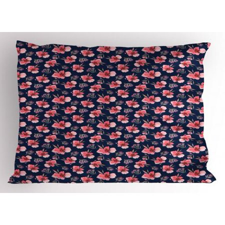 Lr Sham - Watercolor Flowers Pillow Sham Vibrant Blossoms Harvest Season Tropical Accents Shabby Art, Decorative Standard Queen Size Printed Pillowcase, 30 X 20 Inches, Indigo Coral Pale Pink, by Ambesonne
