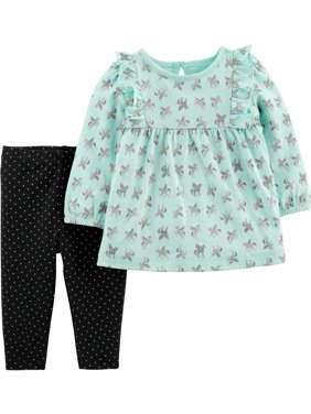 Child of Mine by Carter's Baby Girl Long Sleeve Shirt and Pant Set, 2 pc set