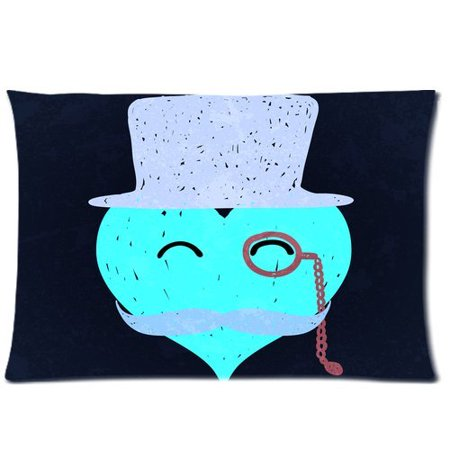 BOSDECO Heart With Mustaches Pillow Cases 20x30 inches Two Sides Print - image 1 of 1