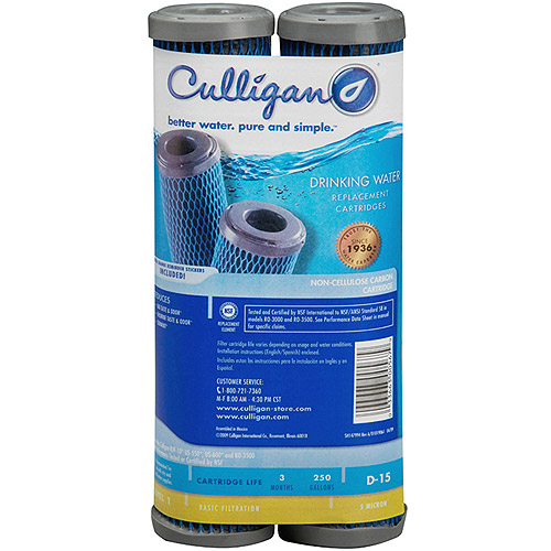 Culligan D-15 Level 1 Basic Filtration Drinking Water Replacement Cartridge, 2pk