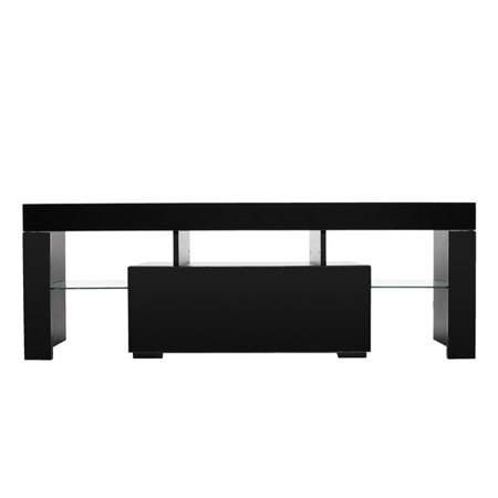 Black LED Light Shelves 1 Drawers Console TV Stand Living Room Home Wooden TV Cabinet ()