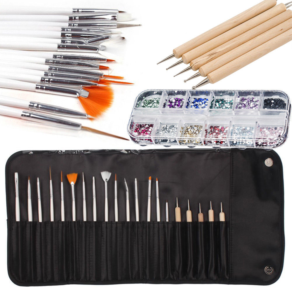 iMeshbean 20pcs Nail Art Design Set Dotting Painting Drawing Polish Brush Pen Tools w/Nail Rinstone