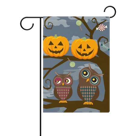 POPCreation Owl and Halloween Pumpkins Garden Flag 12x18 Inches Halloween Holiday Decorative Yard Flag for Party Home Outdoor Decor