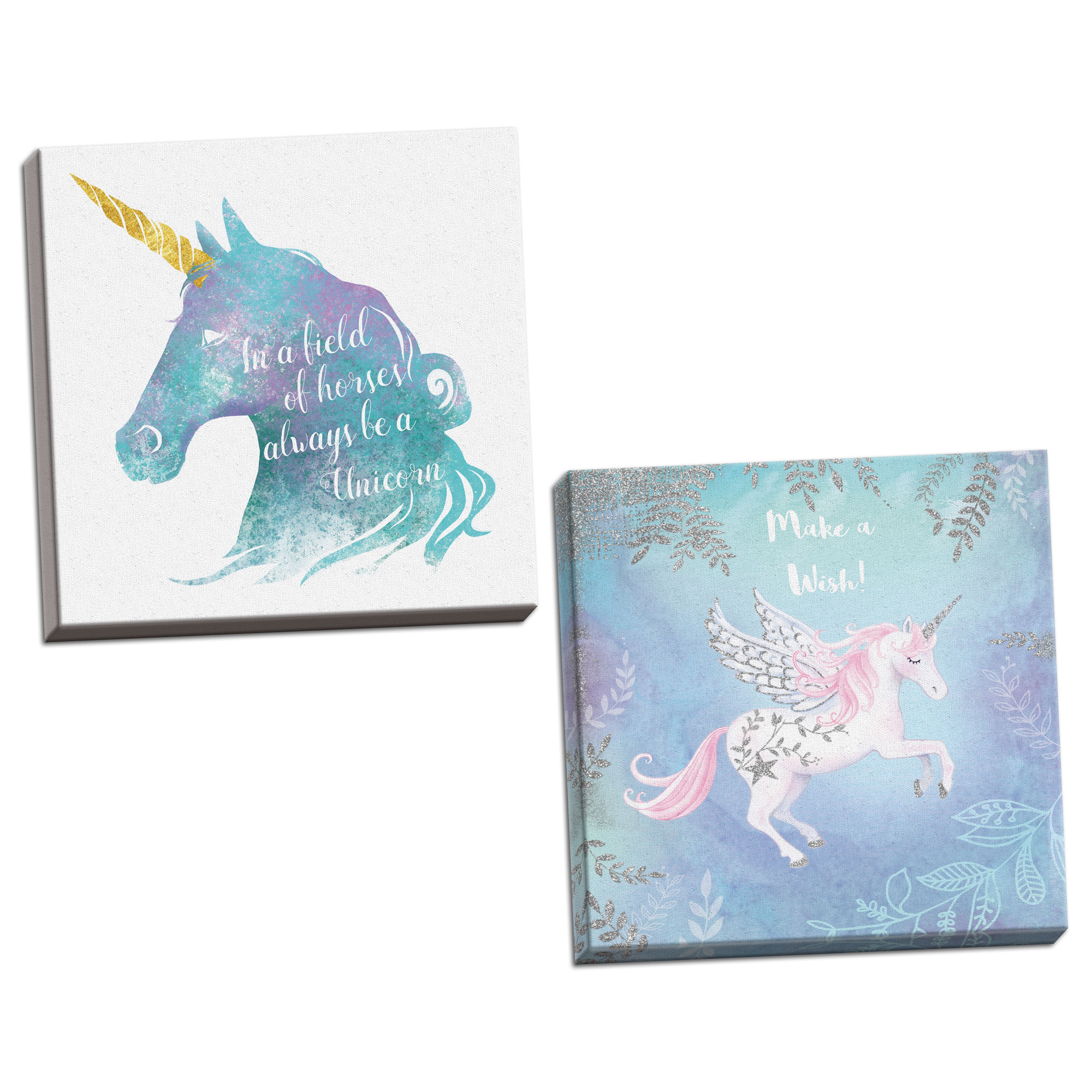Gango Home Decor Vertical Unicorn, & Unicorn by A.V. Art (Ready to Hang); Two 12x12in Hand-Stretched Canvases