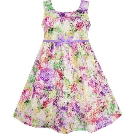 Sunny Fashion Girls Dress Blooming Flower Garden Print Sleeveless Purple Size 4 10