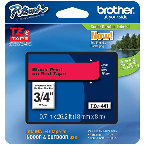 Brother Tze441 18mm Laminated Tape, Black on Red