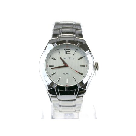 Mens Luxury Metal Index Face Minimal Modern Round Wrist Watch All Silver ()