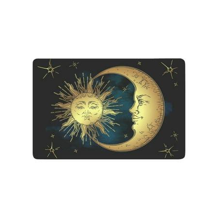 MKHERT Antique Boho Decor Golden Sun Moon and Stars Over Blue Sky Doormat Rug Home Decor Floor Mat Bath Mat 23.6x15.7 inch