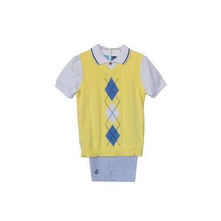 Good Lad Newborn/Infant Yellow Argyle Sweater , Nautical Embroidered Short