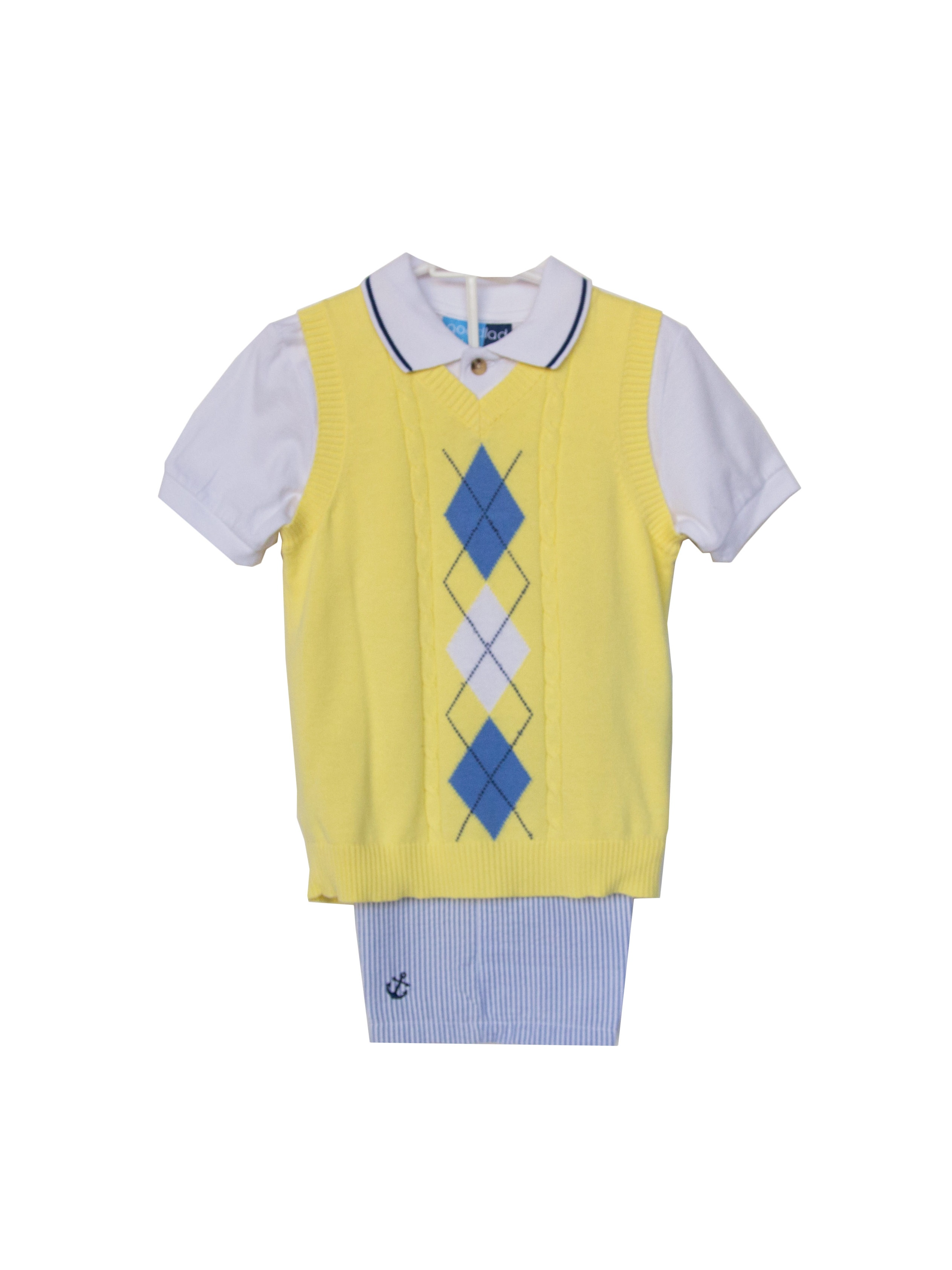 Good Lad Newborn/Infant Yellow Argyle Sweater , Nautical Embroidered Short