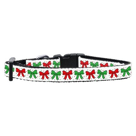 (Christmas Bows Nylon Ribbon Collar Small)