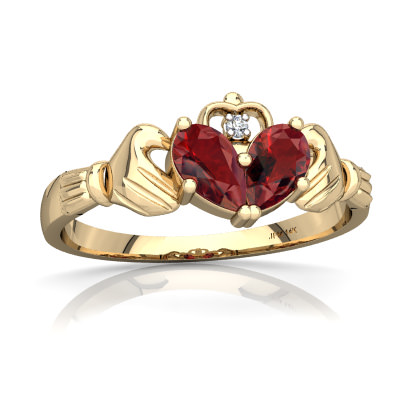 Garnet Claddagh Ring in 14K Yellow Gold by