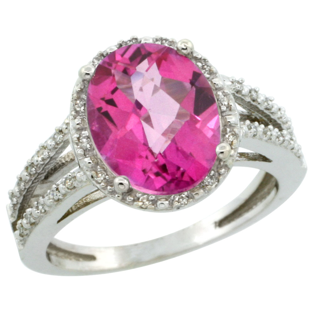 10K White Gold Natural Pink Topaz Diamond Halo Ring Oval 11x9mm ...