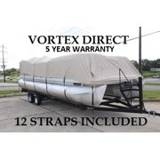 """NEW BEIGE 24 FT VORTEX ULTRA 5 YEAR CANVAS PONTOON/DECK BOAT COVER, ELASTIC, STRAP SYSTEM, FITS 22'1"""" FT TO 24' LONG DECK AREA, UP TO 102"""" BEAM (FAST FREE SHIPPING - 1 TO 4 BUSINESS DAY DELIVERY)"""