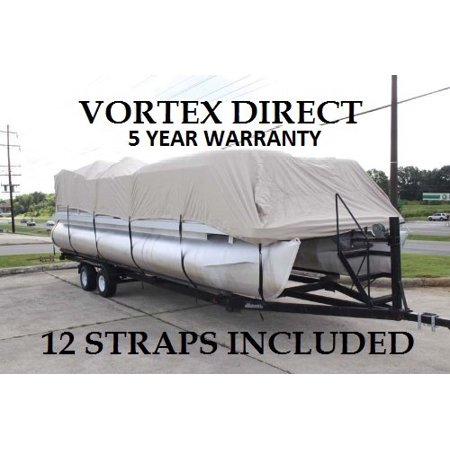 NEW BEIGE 24 FT VORTEX ULTRA 5 YEAR CANVAS PONTOON/DECK BOAT COVER, ELASTIC, STRAP SYSTEM, FITS 22'1