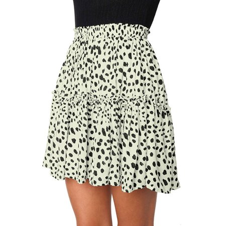STARVNC Women High Waist Floral Print Flared Pleated Front Tie Mini Skirt Short Skirts (Floral Print Mini Skirt)