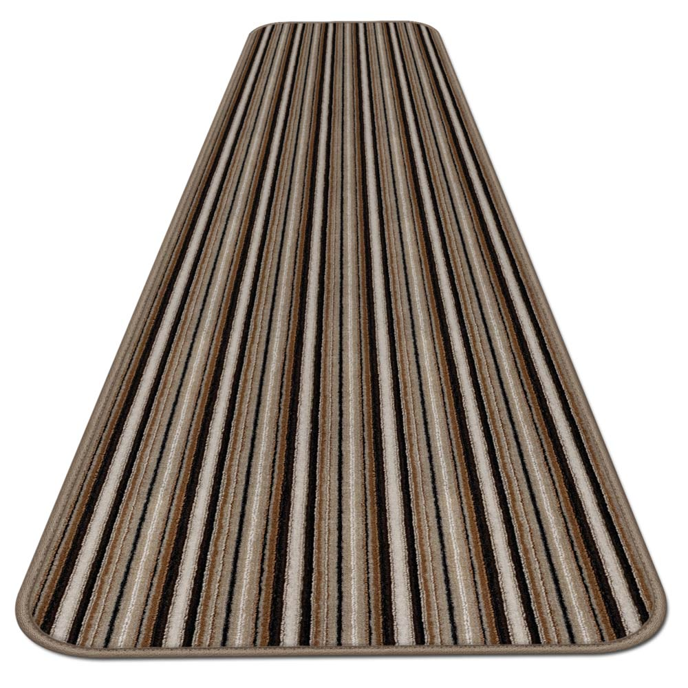 Skid-resistant Carpet Runner - Mocha Brown Stripe - 6 Ft. X 27 In. - Many Other Sizes to Choose From