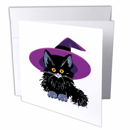 Halloween Cat Crafts For Toddlers (3dRose Cute Adorable Baby Black Kitten Kitty Cat Wearing Purple Witch Hat For Halloween Spooks, Greeting Cards, 6 x 6 inches, set of)