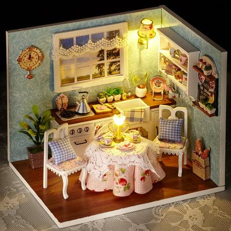 Baby Handmade Assembly Model House LED Lights Dust Cover Dollhouse Children Learning Education Doll House - image 6 de 9