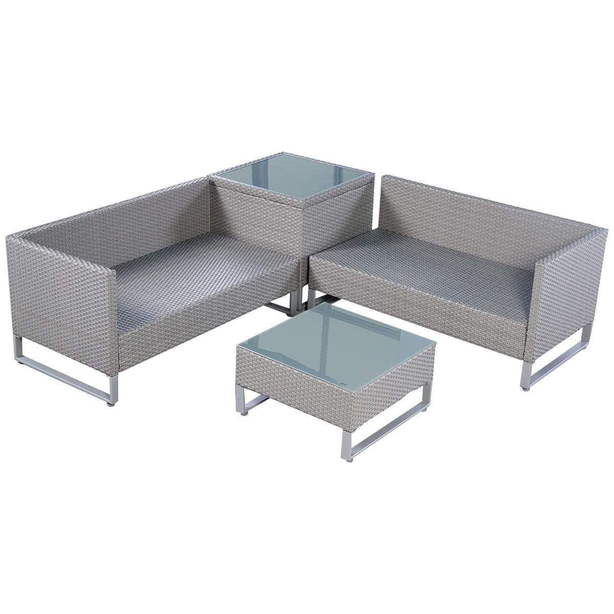 Costway 4PCS Gray Rattan Wicker Patio Sofa Cushion Seat Set
