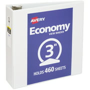 "Avery Economy View 3 Ring Binder, 3"" Round Rings, 1 White Binder"