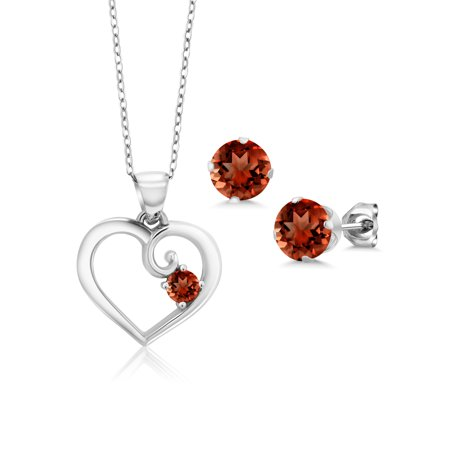 2.20 Ct Round Red Garnet 925 Sterling Silver Pendant Earrings Set