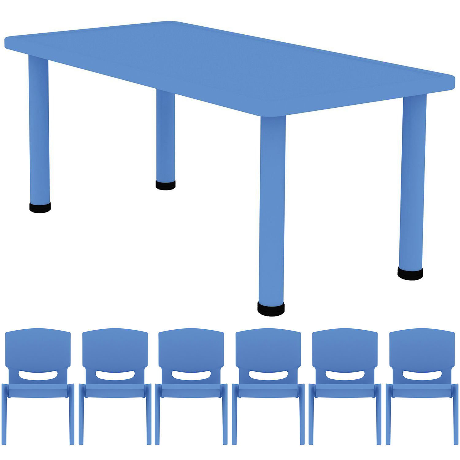 Astounding 2Xhome Blue Kids Table And Chair Set Adjustable Leg Strong Wide Activity Table School Table Child Bright Color Table Preschool With 6 Stackable Camellatalisay Diy Chair Ideas Camellatalisaycom