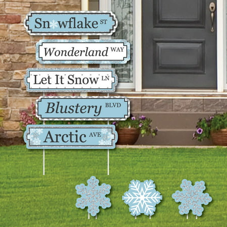 Winter Wonderland Street Sign Cutouts - Snowflake Holiday Party Yard Signs and Decorations - Set of 8](Winter Wonderland Decorations)