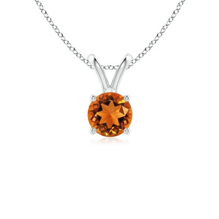 V-Bale Round Citrine Solitaire Pendant in 14K White Gold (5mm Citrine) - SP0531CT-WG-AAAA-5