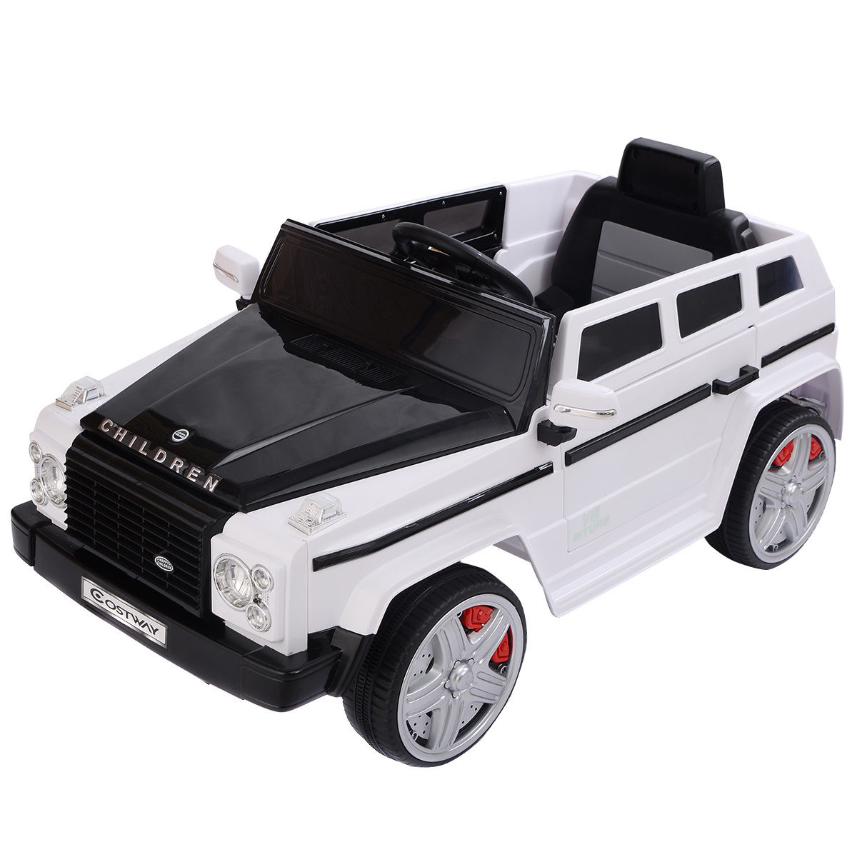 Costway 12V MP3 Kids Ride On Car Battery RC Remote Control w/ LED Lights White