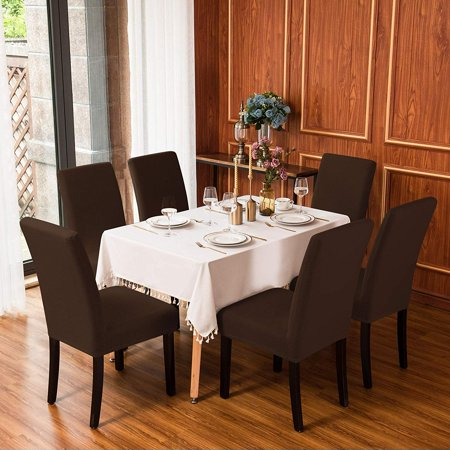 Subrtex Dining Room Knit Slipcovers Sets Stretch Removable Chair Furniture Protect Washable Elastic Seat Cover Dining Room Set Furniture Cover