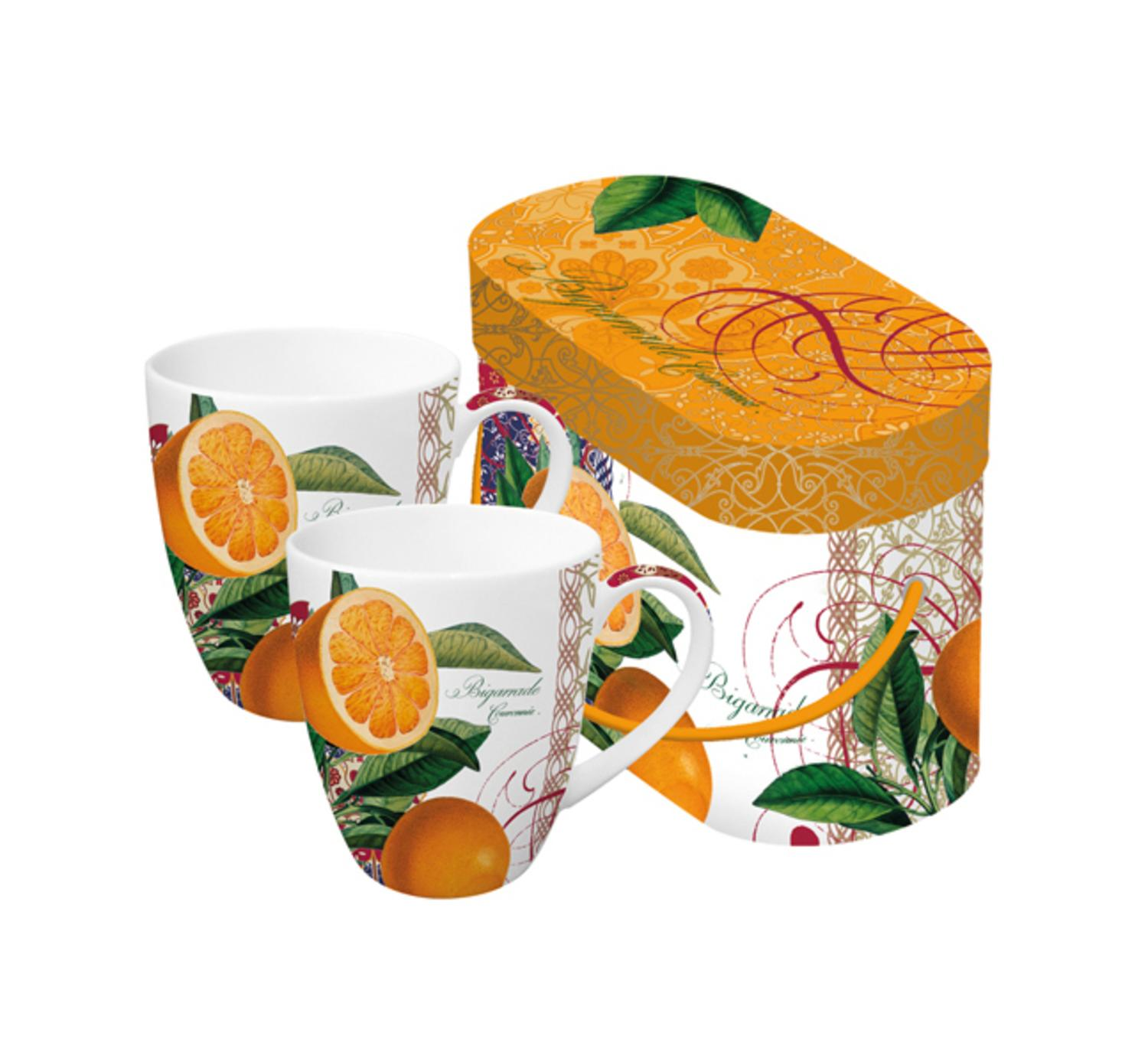 Set of 2 Valencia Orange Bigarrade Couronnée Porcelain Coffee Mugs with Gift Box - 14 ounces