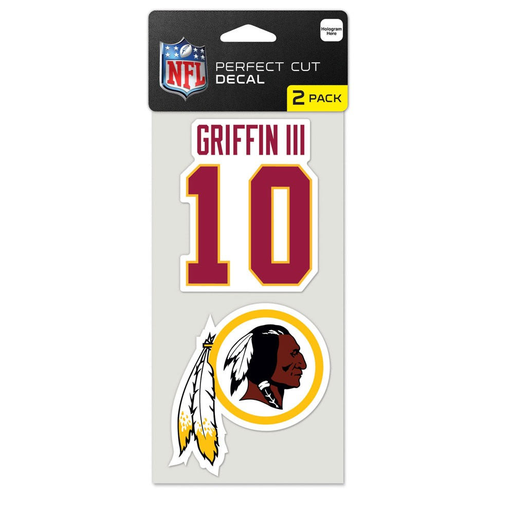 Washington Redskins Official NFL 4 inch x 4 inch  Each Die Cut Car Decal 2-Pack by Wincraft