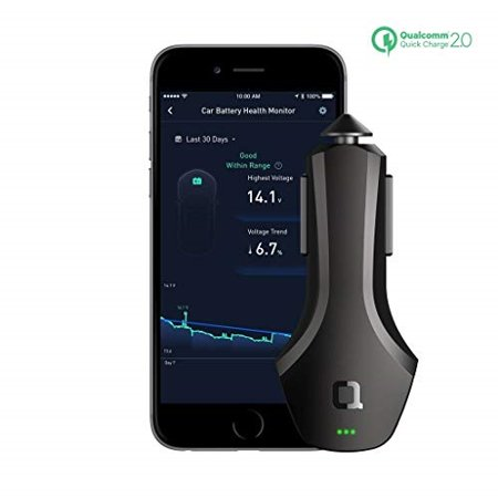 nonda zus connected car app suite & qualcomm quick charge 36w smart car charger, monitor car battery, find your car - no obd port required, best companion for navdy, automatic, vyncs, linxup,