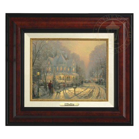 Thomas Kinkade A Holiday Gathering - Canvas Classic (Burl Frame)