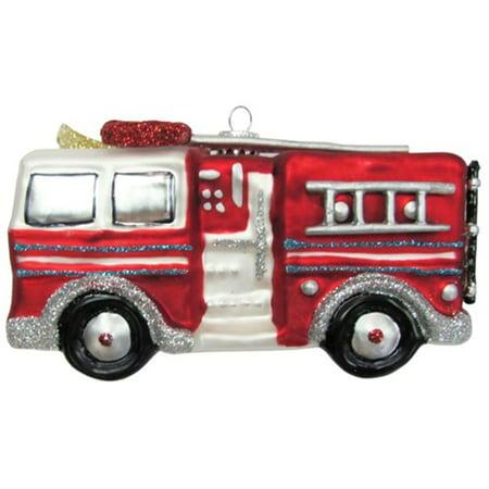 Christmas by Krebs Fireman Firefighter Fire Engine Truck Glass Ornament (Firefighter Ornaments)