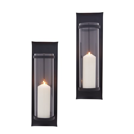 Danya B. Metal Pillar Candle Sconces with Glass Inserts – A Wrought Iron Rectangle Wall Accent (Set of 2) ()