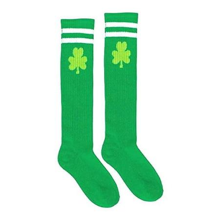St. Patrick's Day Knee High Tube Socks Lucky Irish Green Clover Costume Amscan 396744 - St Patricks Day Socks