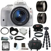 Canon EOS Rebel SL1 (White) w/ 32GB 3 Lens kit (18-55mm/58mm Wide & Telephoto)