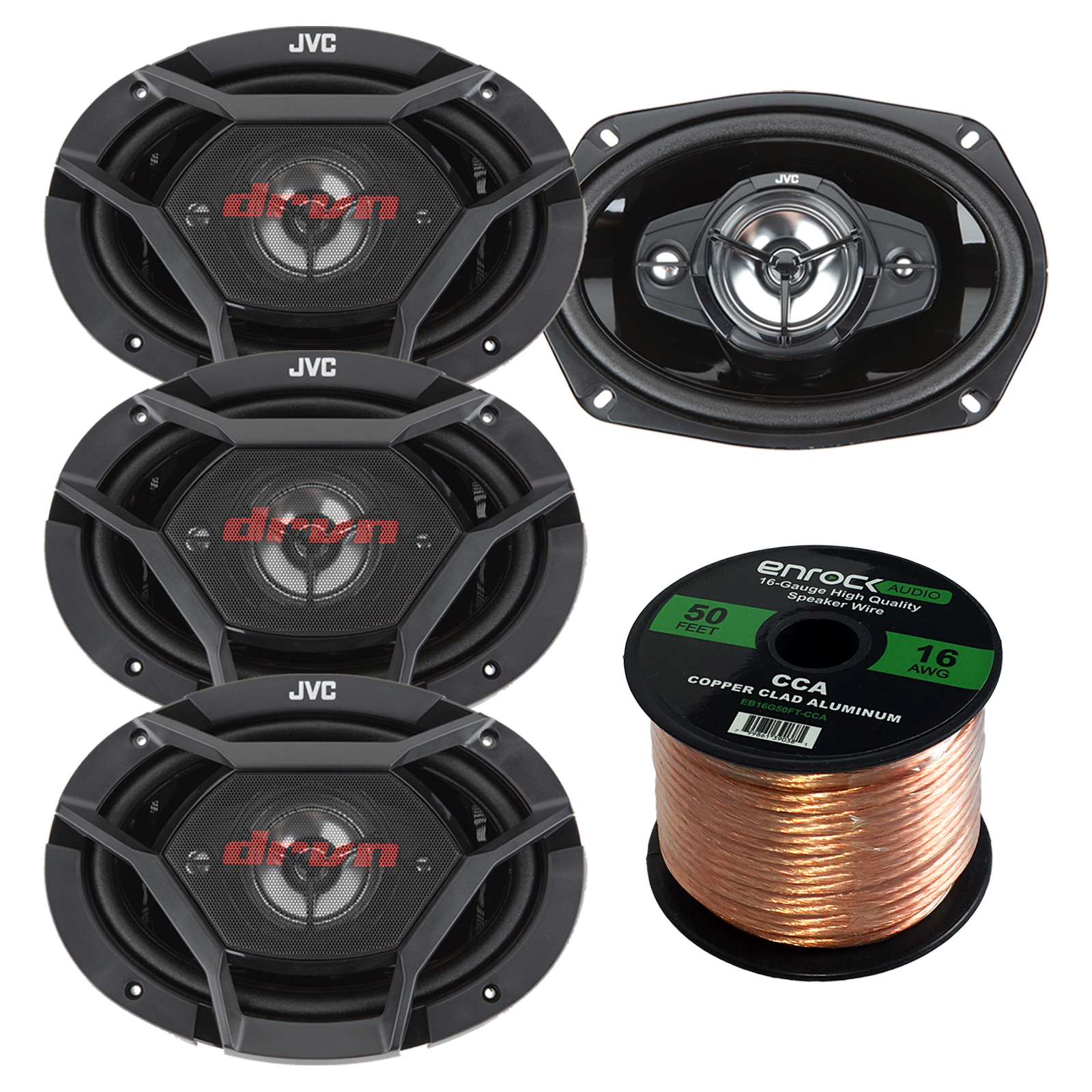 "Car Speaker Bundle Combo: 2 Pairs of JVC CS-DR6940 6x9"" Inch 4-Way 1100 Watt Audio Coaxial Upgrade Speakers + Enrock 50 Foot 16 Gauge Speaker Wire"