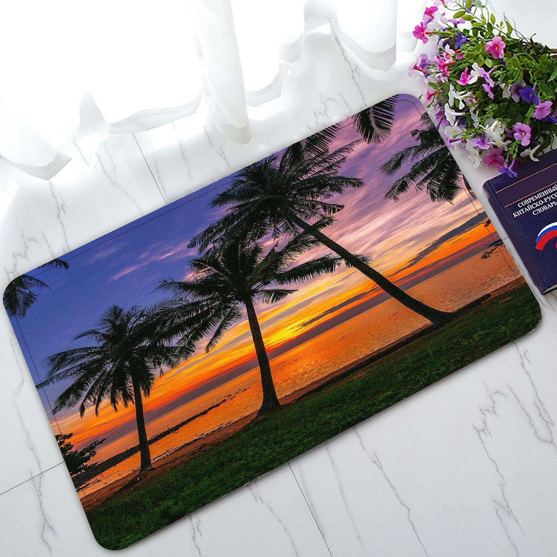 PHFZK Ocean Doormat, Sunset Tropical Beach Palm Tree Doormat Outdoors/Indoor Doormat Home Floor Mats Rugs Size 30x18 inches
