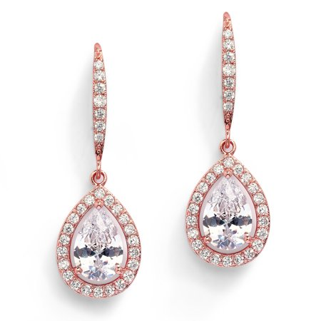 Mariell Pear-Shaped CZ Bridal Wedding Teardrop Earrings - Real 14k Rose Gold Plated Jewelry (Rose Gold Anchor Jewelry)