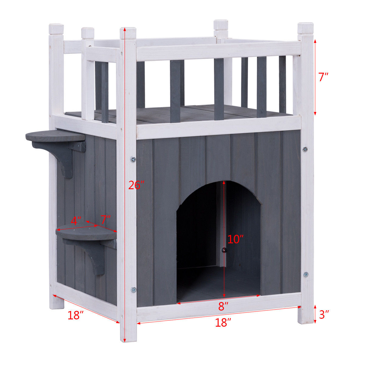 Gymax Wooden Cat Pet Home with Balcony Pet House Small Dog Indoor Outdoor Shelter - image 3 de 9